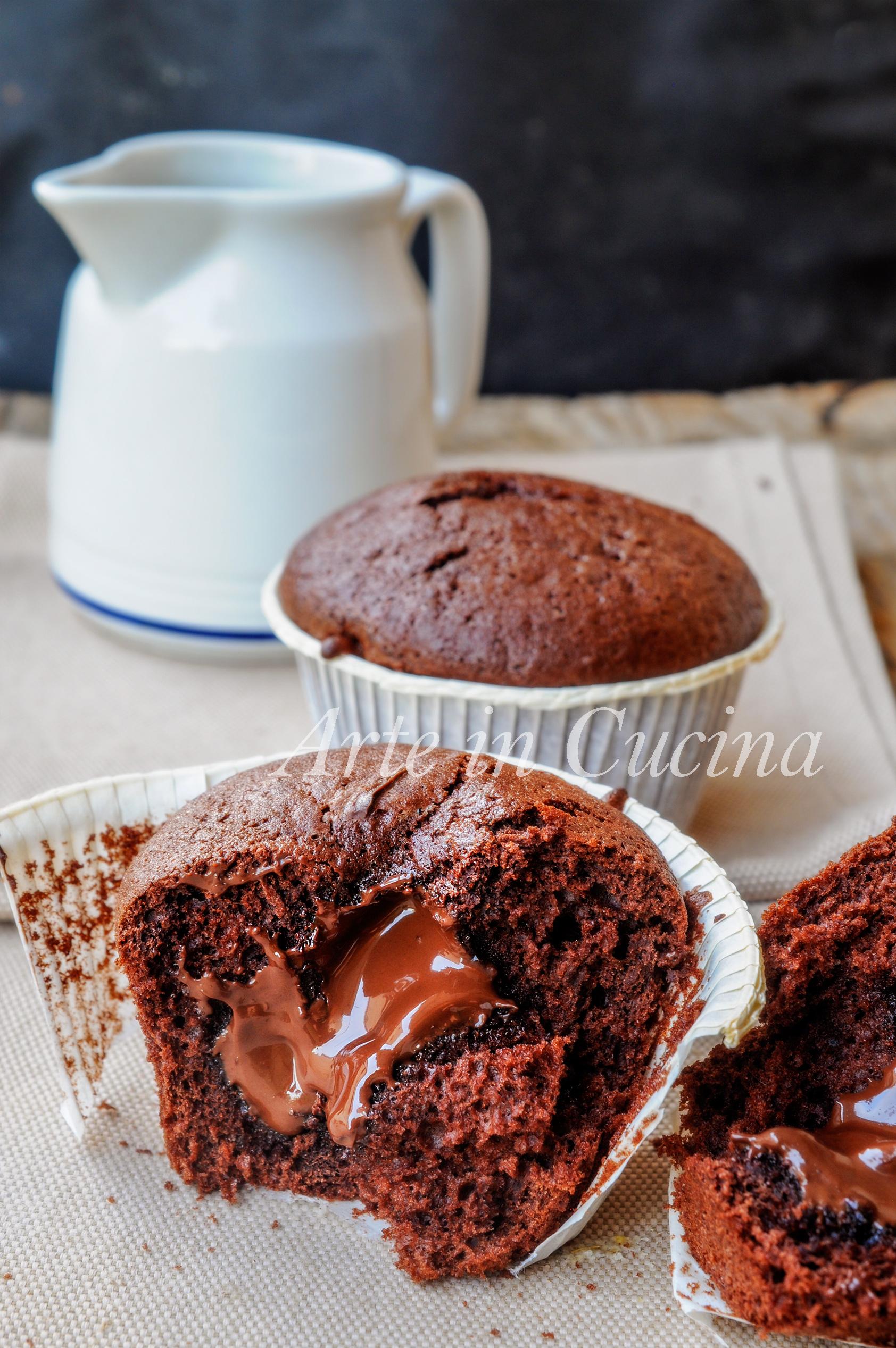 Muffin con cuore morbido di nutella al cioccolato vickyart arte in cucina