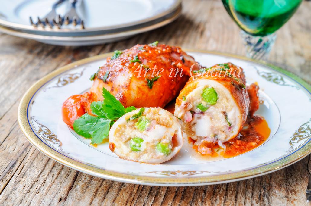 Calamari ripieni in padella con pomodorini vickyart arte in cucina