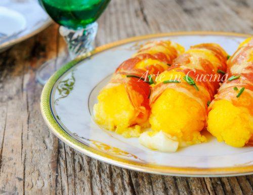 Cannoli di polenta ripieni al formaggio e pancetta