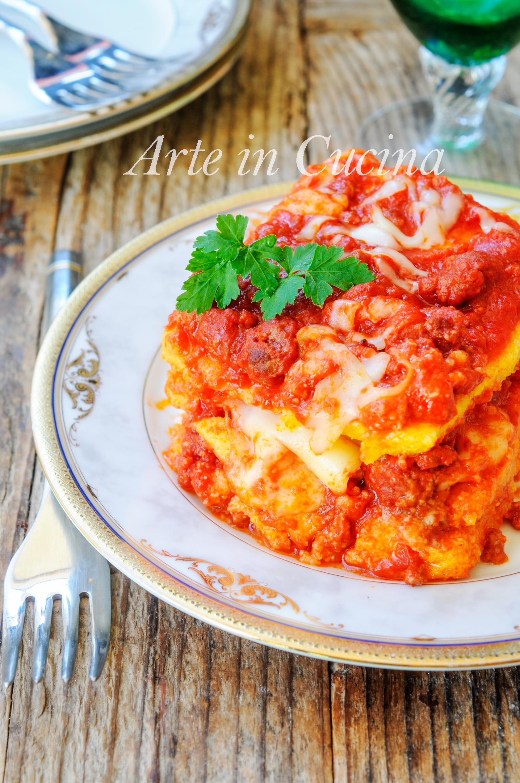 Lasagna di polenta con ragu al forno ricetta facile vickyart arte in cucina