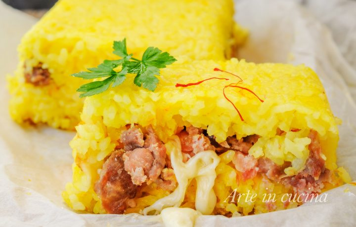 Mattonella di riso allo zafferano con salsiccia