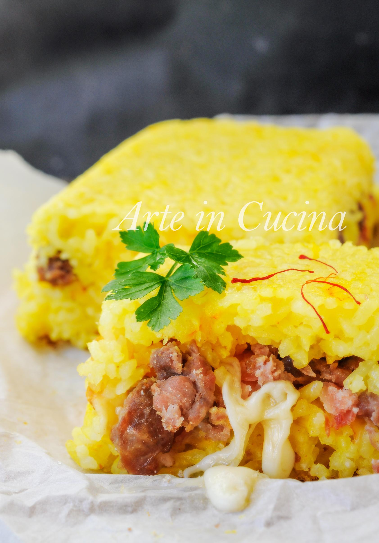 Mattonella di riso allo zafferano con salsiccia vickyart arte in cucina