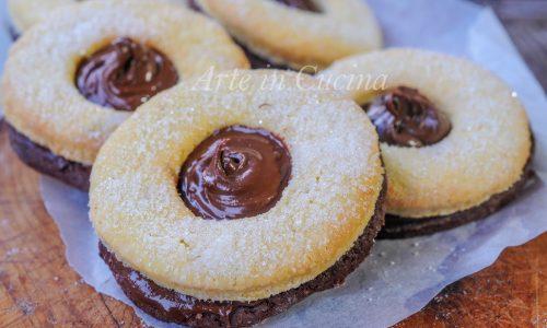 Occhi di bue bicolori alla nutella biscotti facili