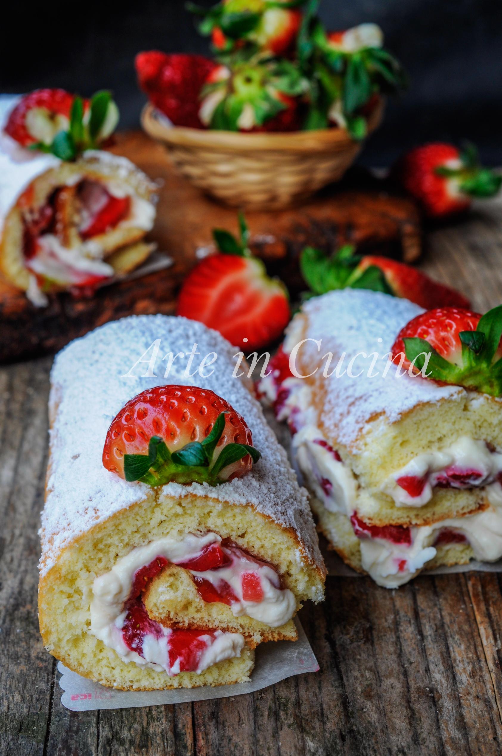 Cannoli rotolini di pasta biscotto fragole e mascarpone vickyart arte in cucina