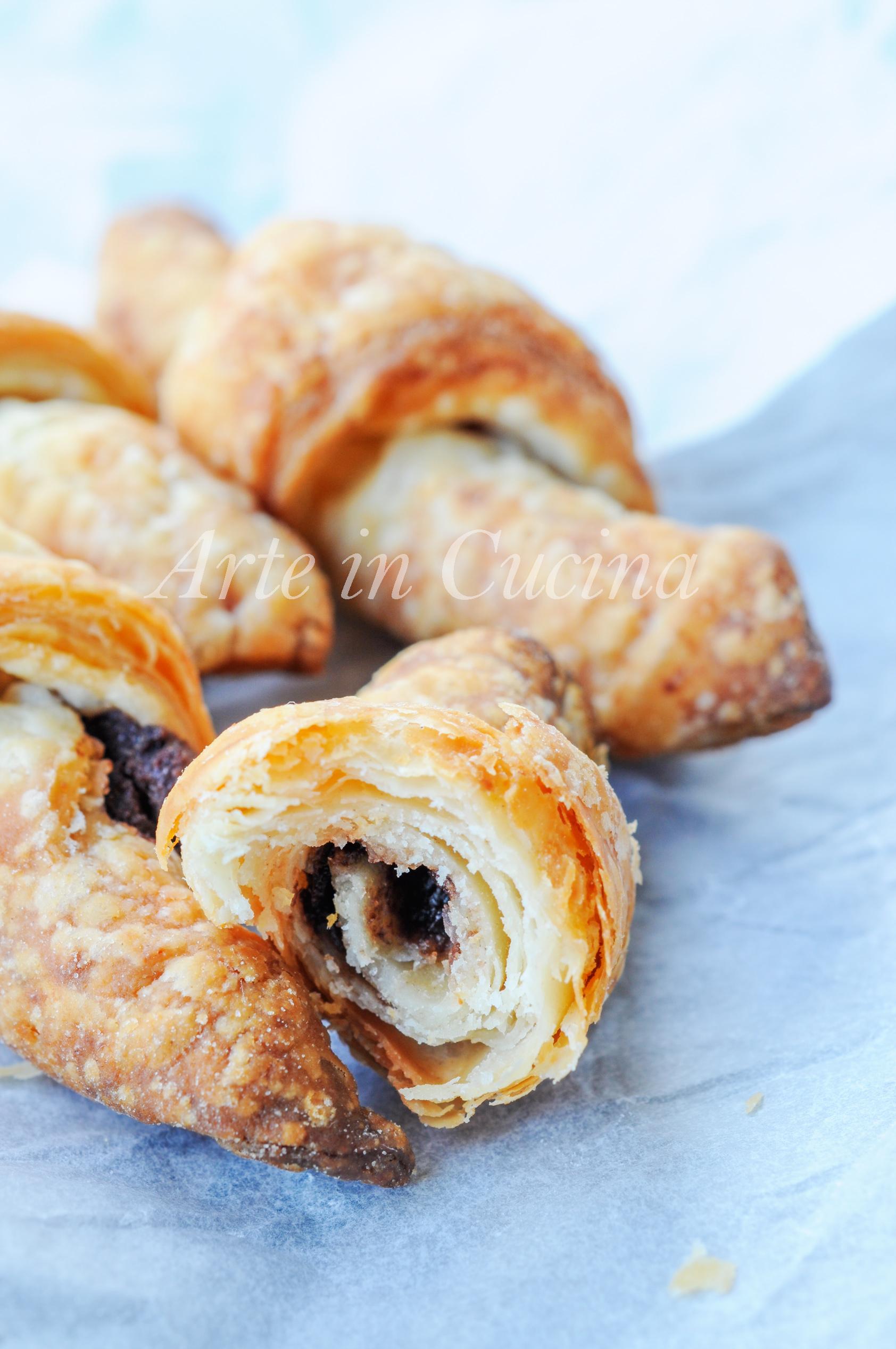 Cornetti di sfoglia alla ricotta con nutella ricetta facile vickyart arte in cucina