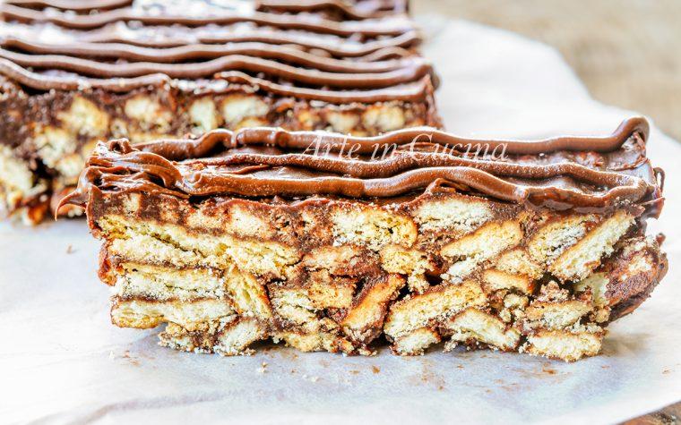 Mattonella di biscotti salame alla nutella e cioccolato