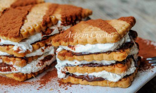 Mattonella di biscotti nutella e tiramisu dolce veloce