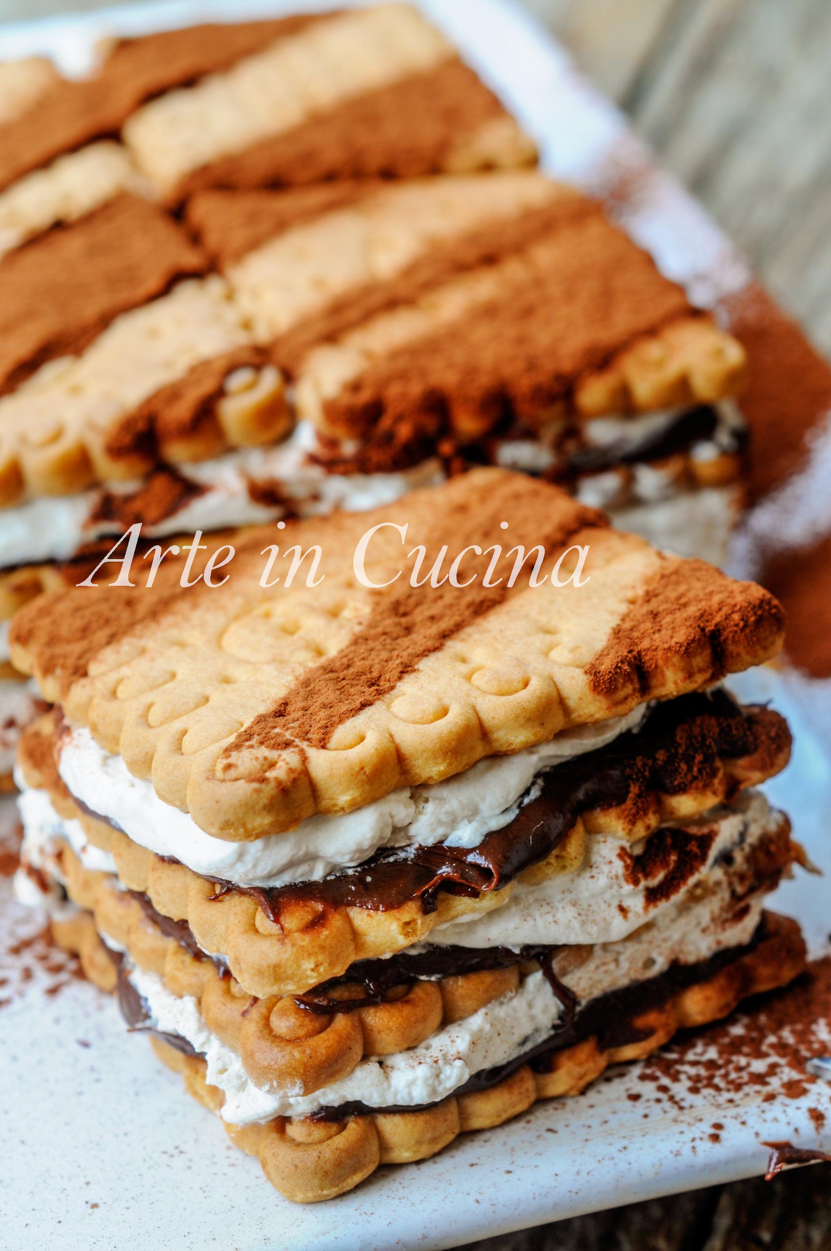 Mattonella di biscotti nutella e tiramisu dolce veloce vickyart arte in cucina