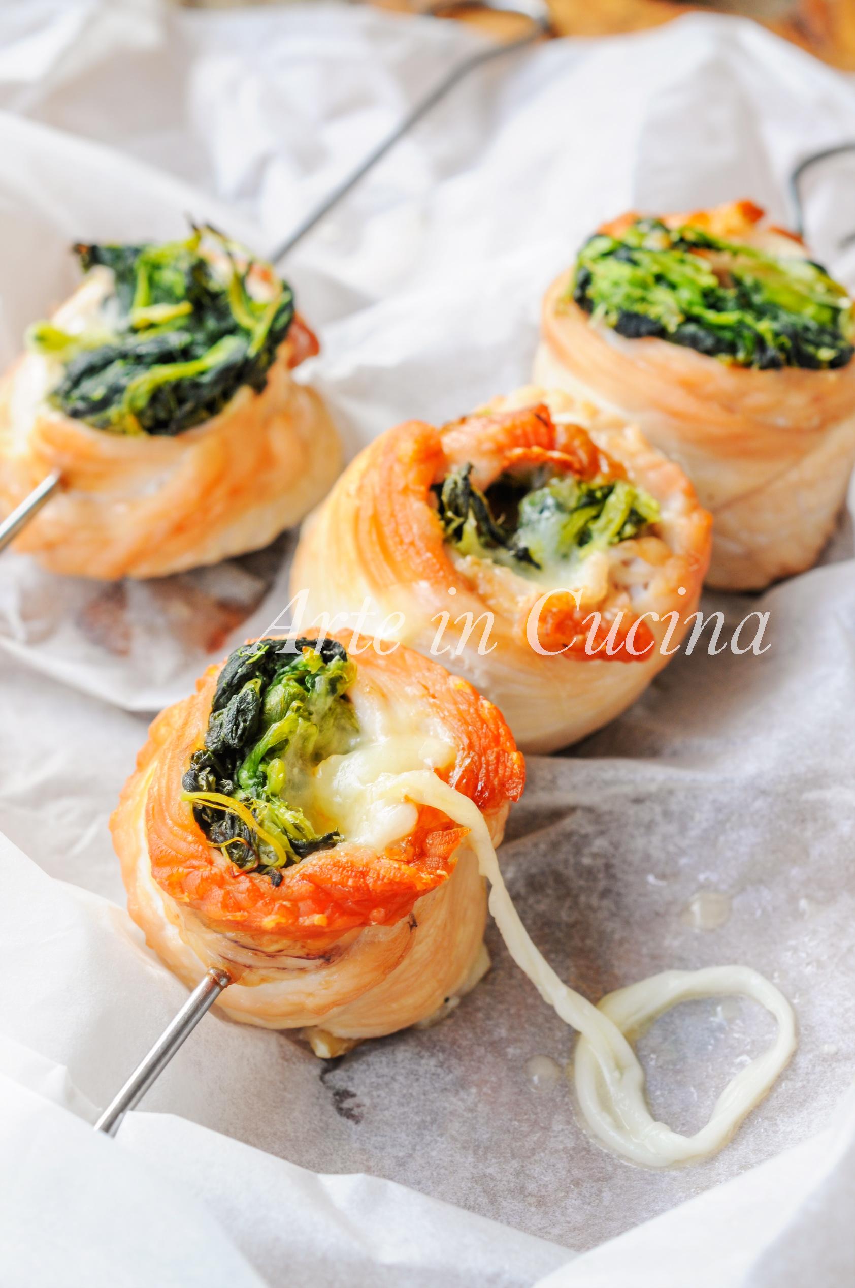 Spiedini di tacchino con spinaci ricetta veloce vickyart arte in cucina