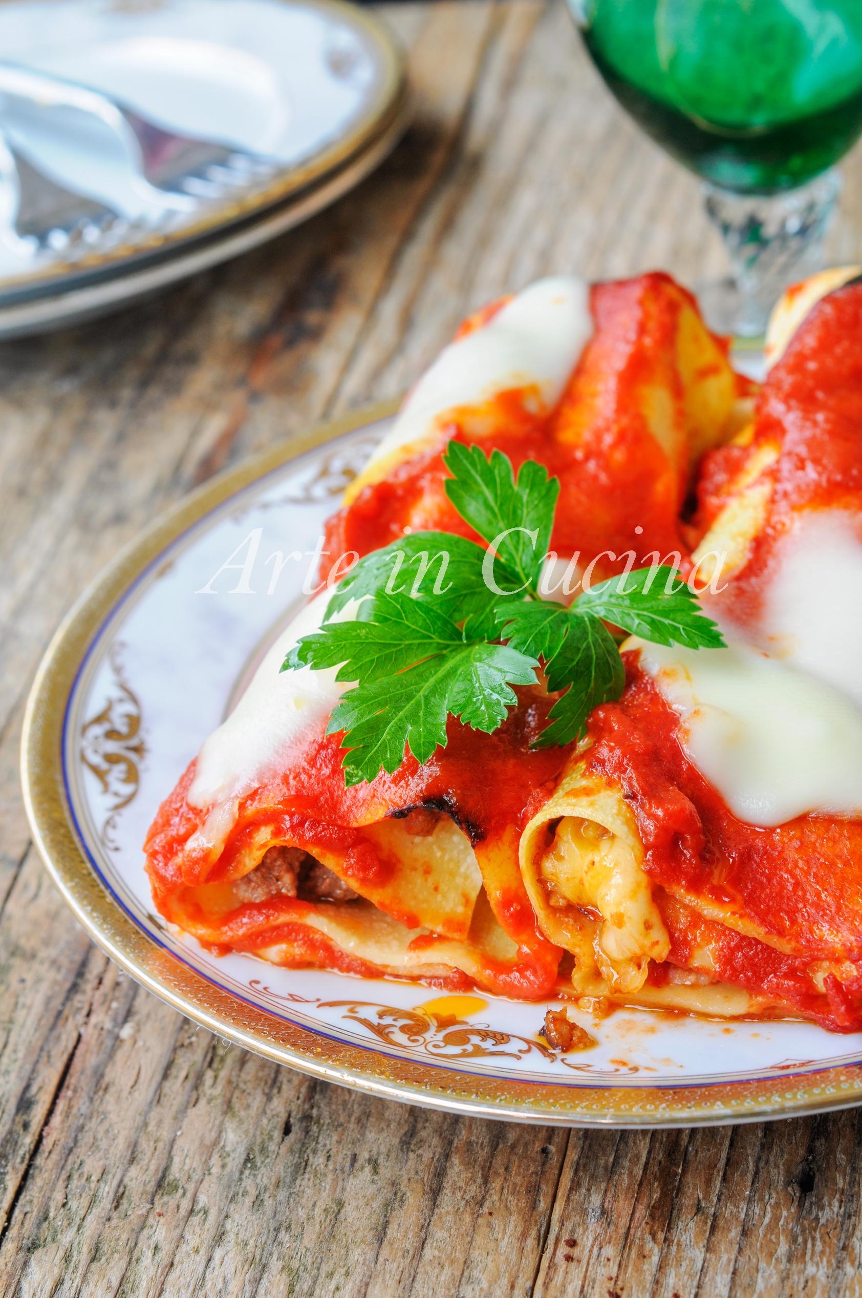 Cannelloni di lasagna con ricotta e carne al sugo vickyart arte in cucina