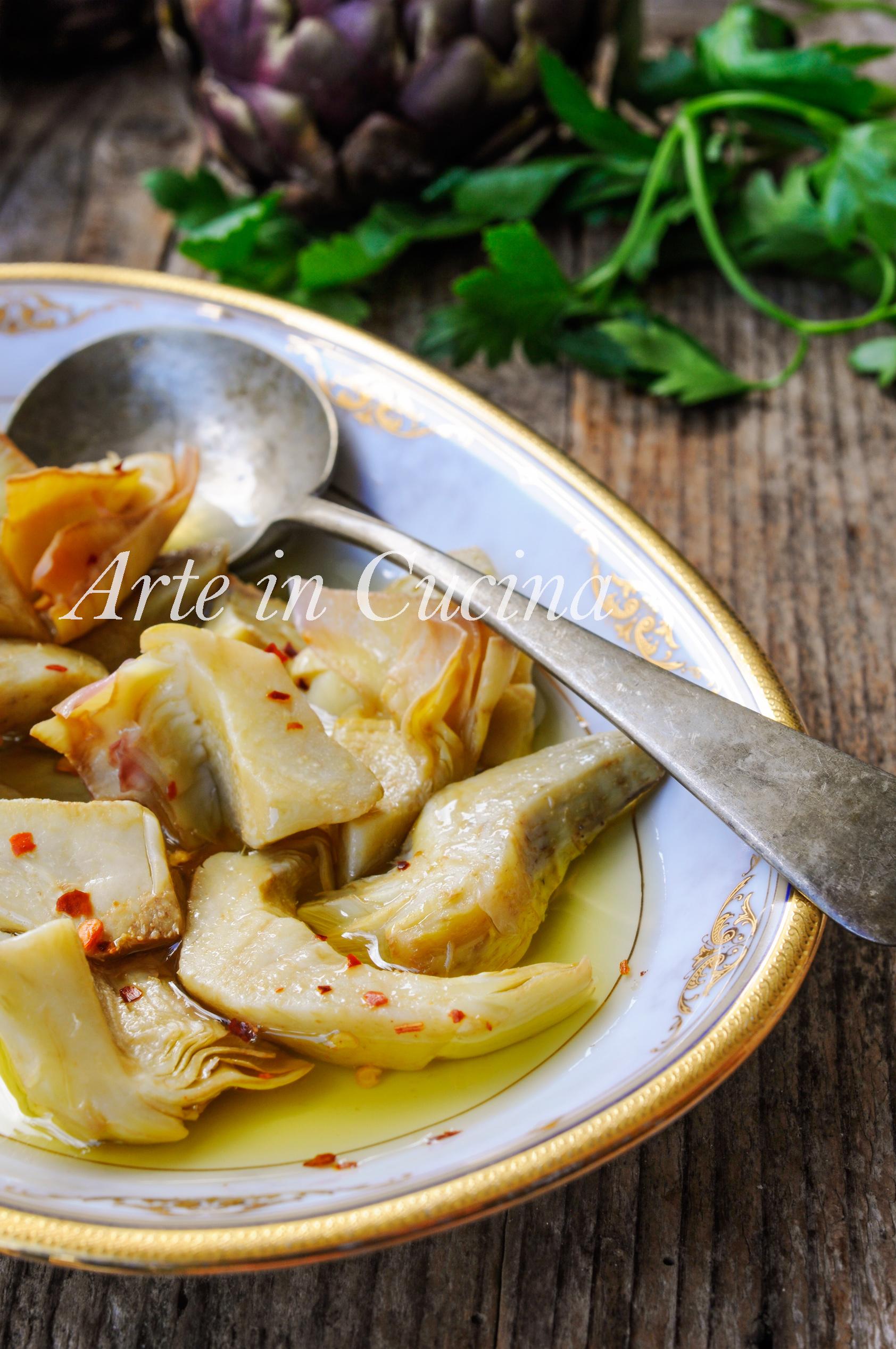 Carciofini sott'olio ricetta antipasto facile vickyart arte in cucina