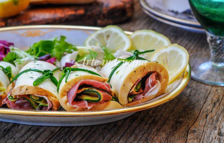 Girelle di scamorza affumicata e zucchine antipasto veloce
