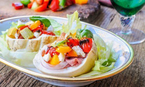 Mozzarelle affumicate ripiene con dadolata di verdure