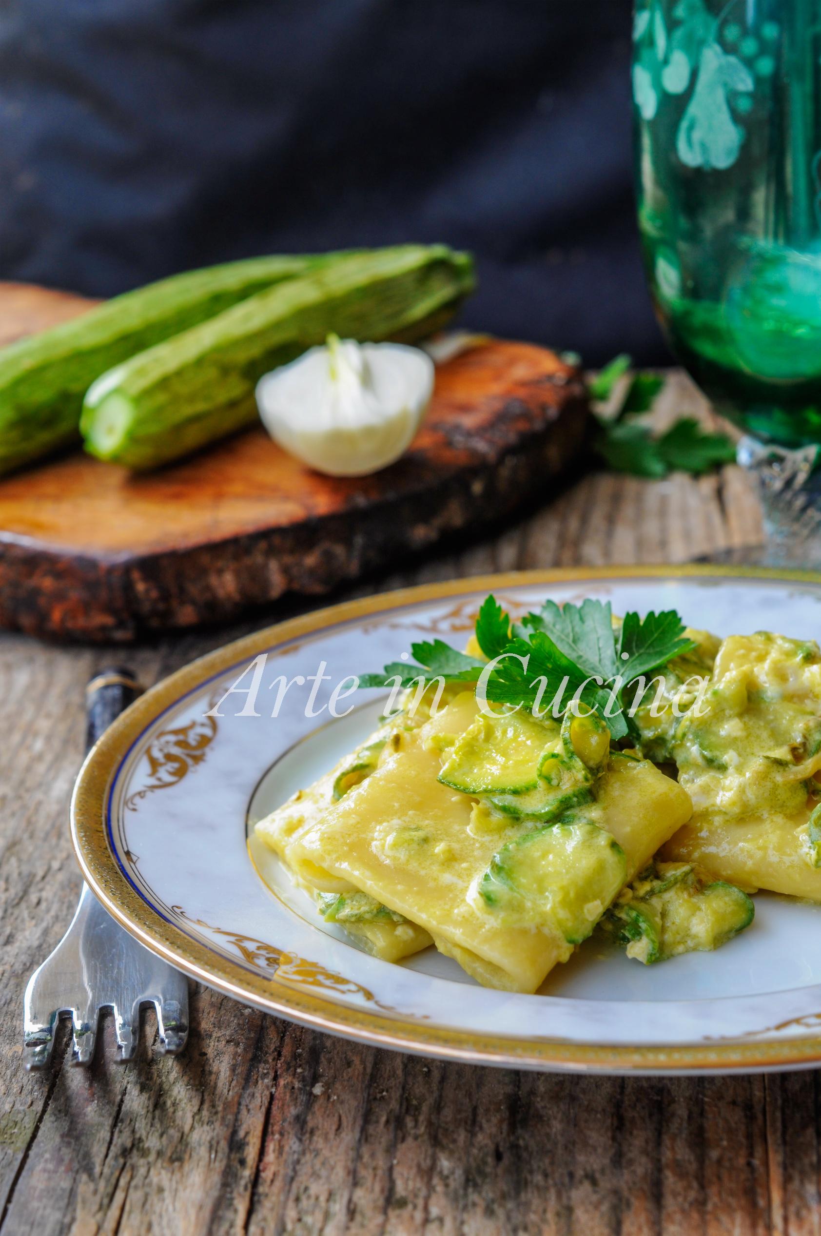 Paccheri zucchine e stracciatella d'uovo ricetta veloce vickyart arte in cucina