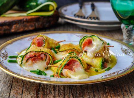 Rotolini di zucchine gratinate con pancetta e Asiago