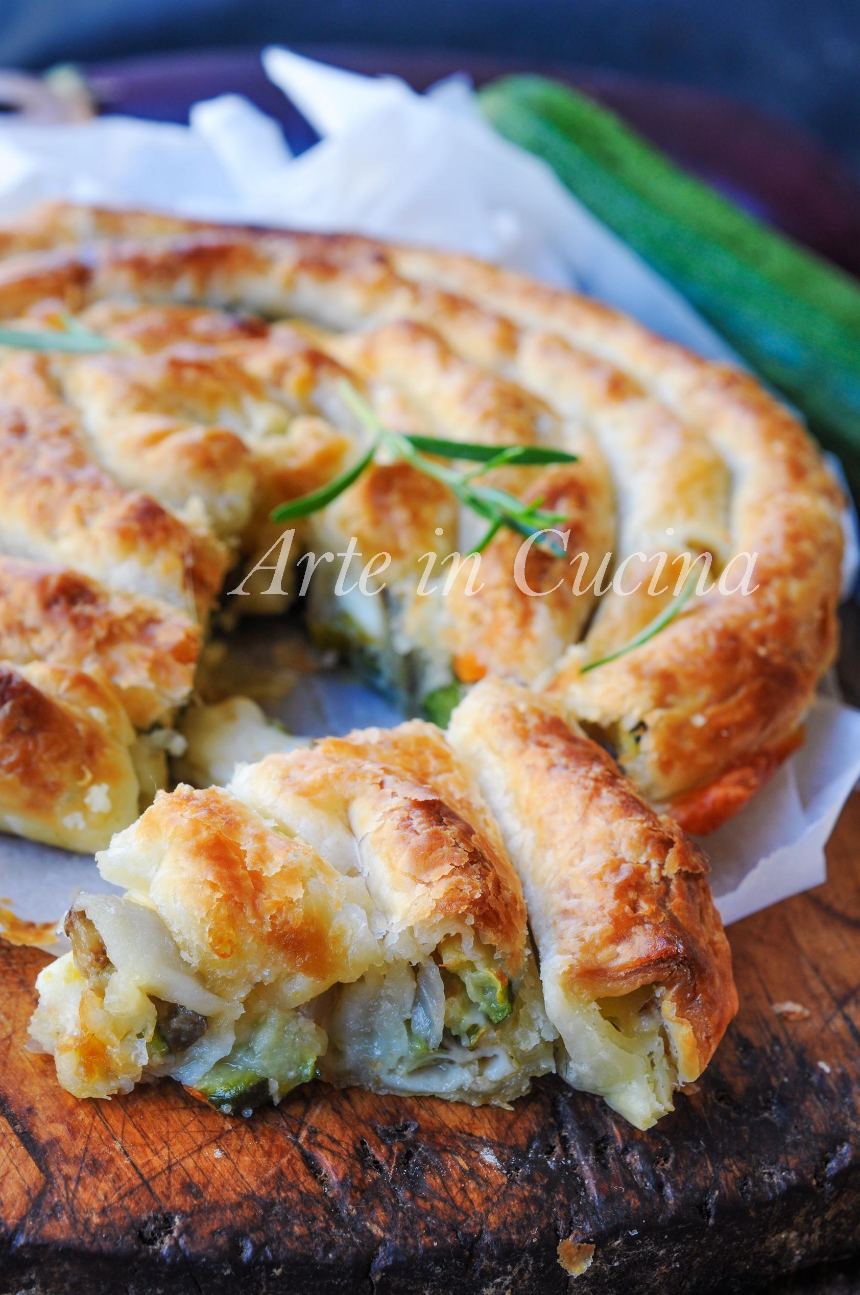 Spirale di sfoglia salata ripiena di verdure vickyart arte in cucina