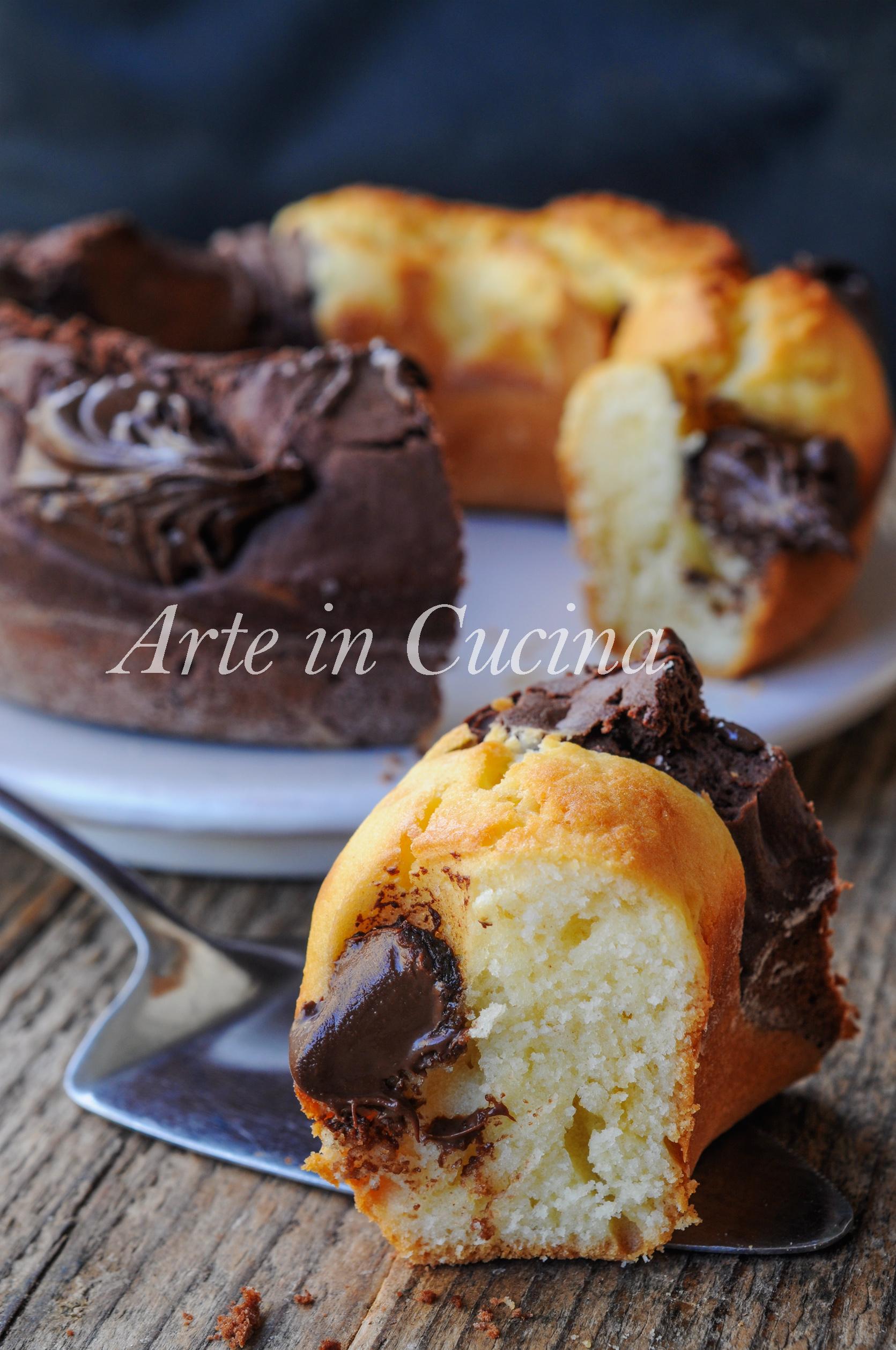 Ciambella abbraccio con nutella ricetta dolce veloce vickyart arte in cucina