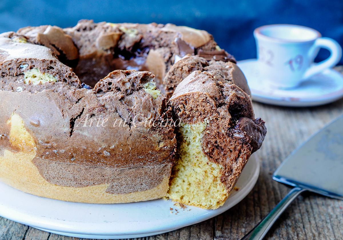 Ciambella al caffè variegata alla nutella e cacao vickyart arte in cucina
