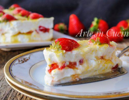 Mattonella fragole e limone cremosa dolce veloce