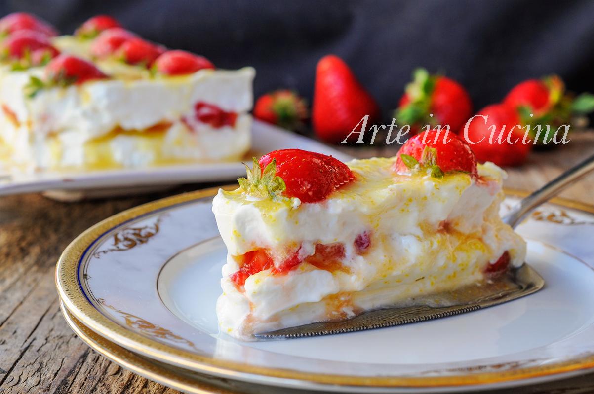 Mattonella fragole e limone cremosa dolce veloce vickyart arte in cucina