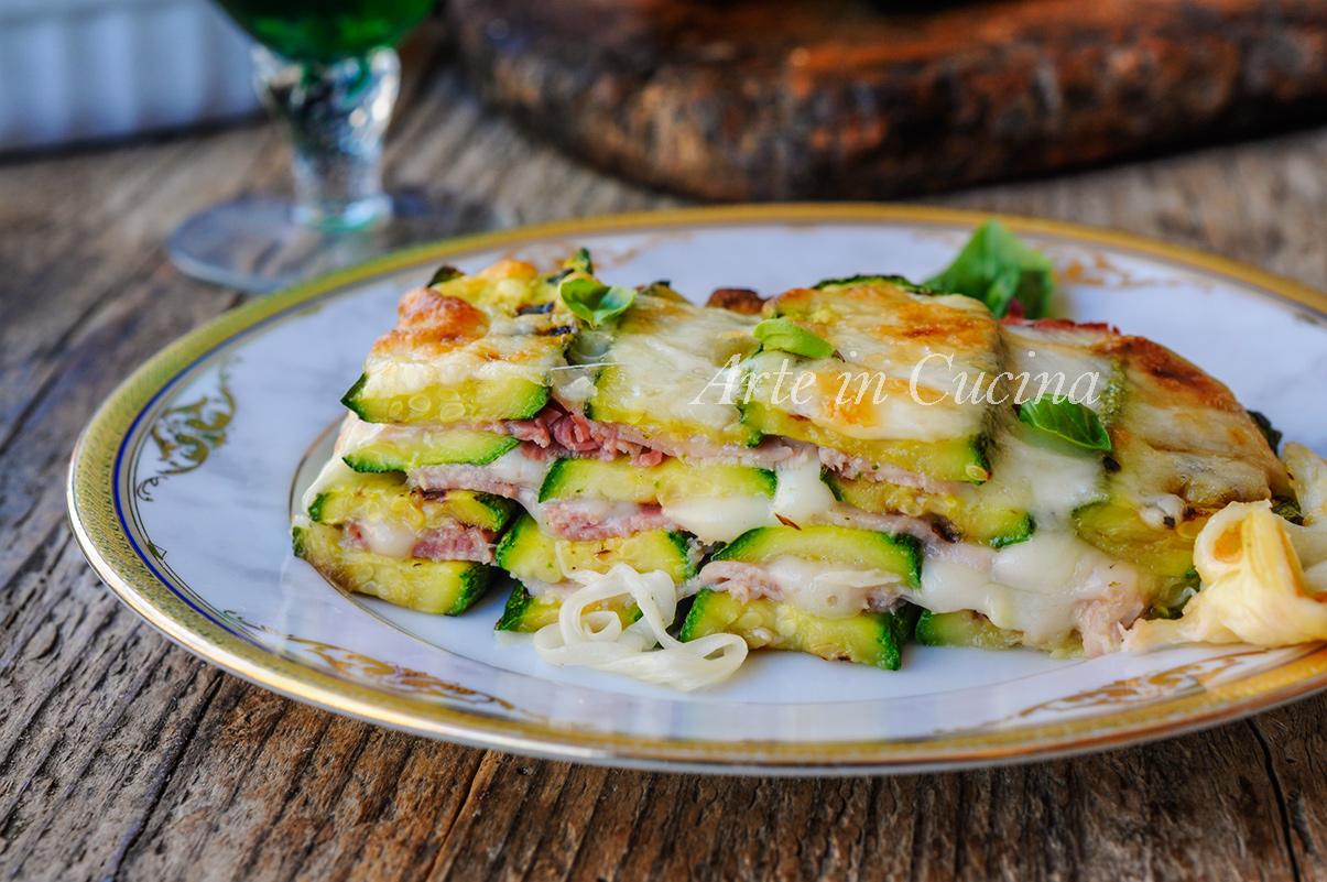 Millefoglie di zucchine grigliate provola e prosciutto vickyart arte in cucina