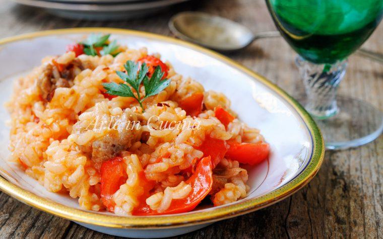 Risotto peperoni e salsiccia semplice e veloce