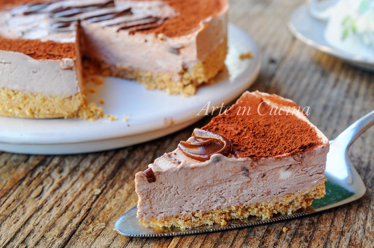Torta nutella e ricotta senza cottura dolce veloce vickyart arte in cucina