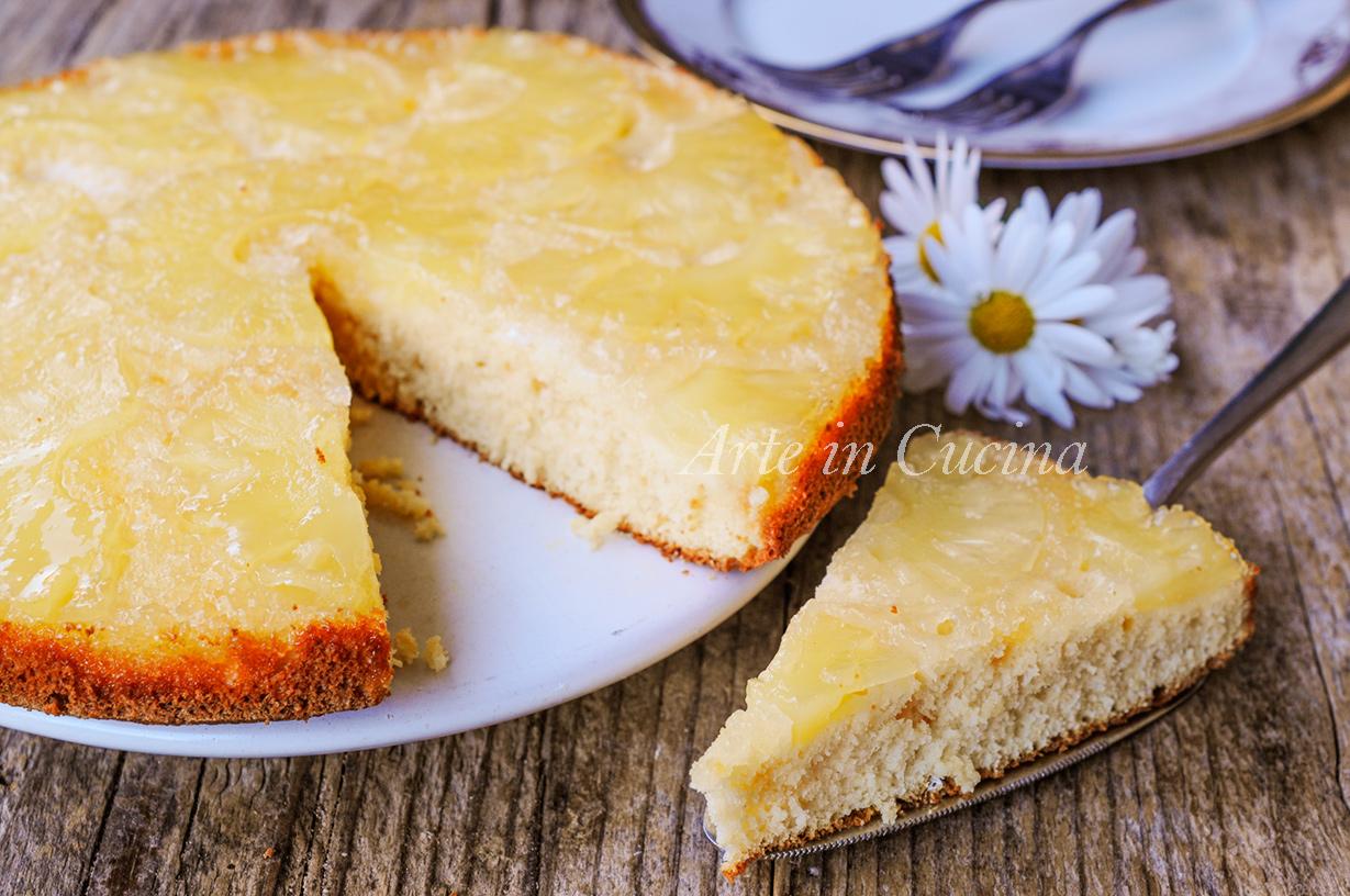 Torta rovesciata all'ananas veloce senza burro e olio vickyart arte in cucina