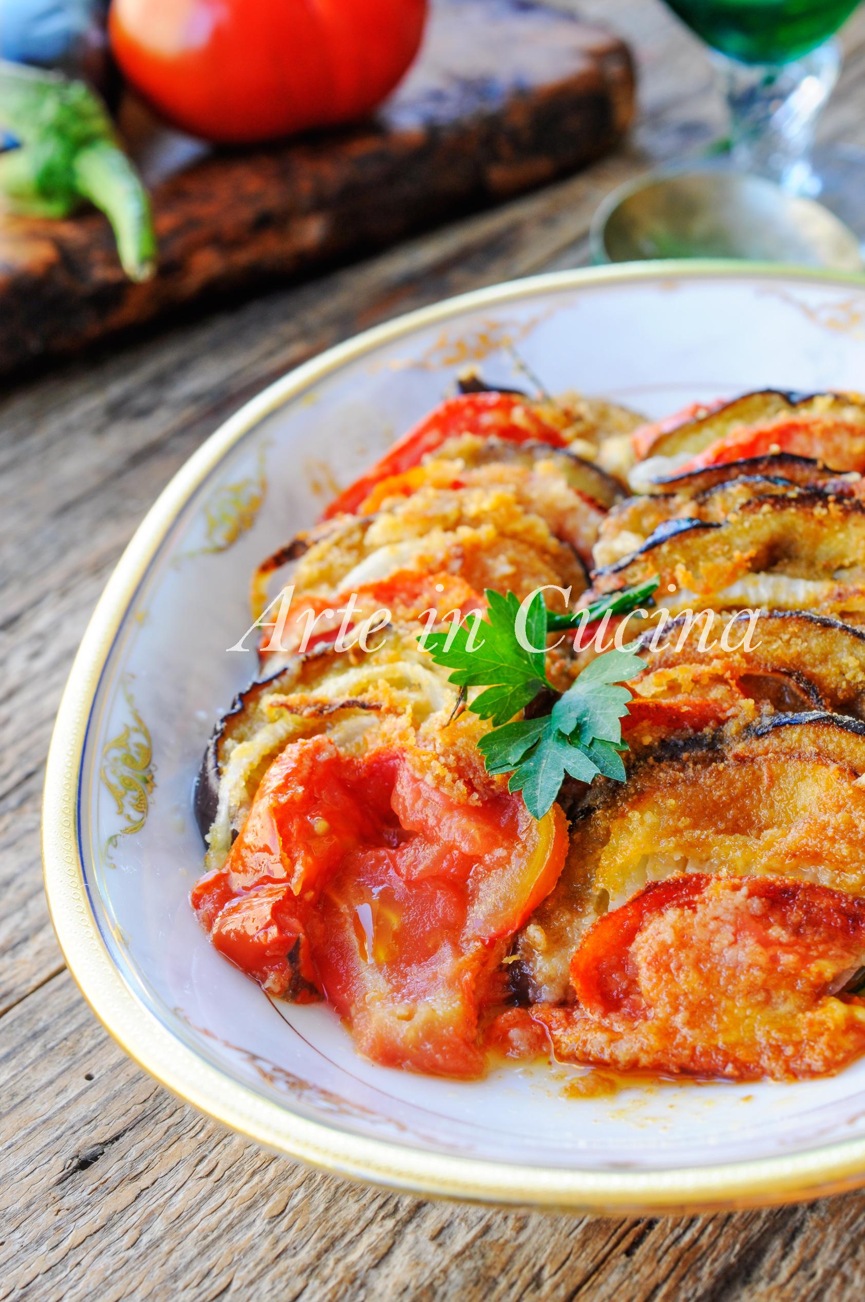 Tortino di melanzane con cipolle gratinate al forno vickyart arte in cucina