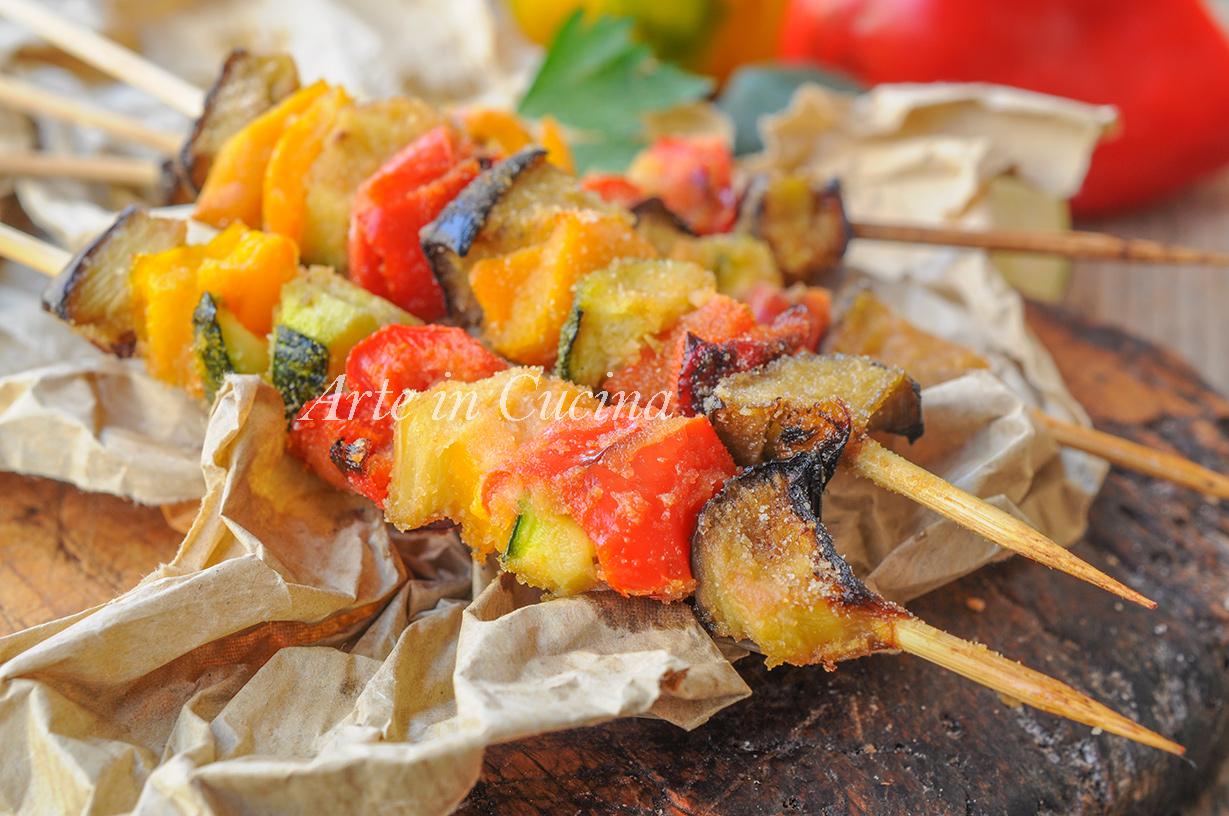 Arrosticini di verdure panate ricetta sfiziosa veloce vickyart arte in cucina