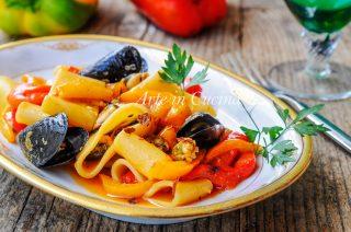 Paccheri con cozze e peperoni ricetta facile vickyart arte in cucina