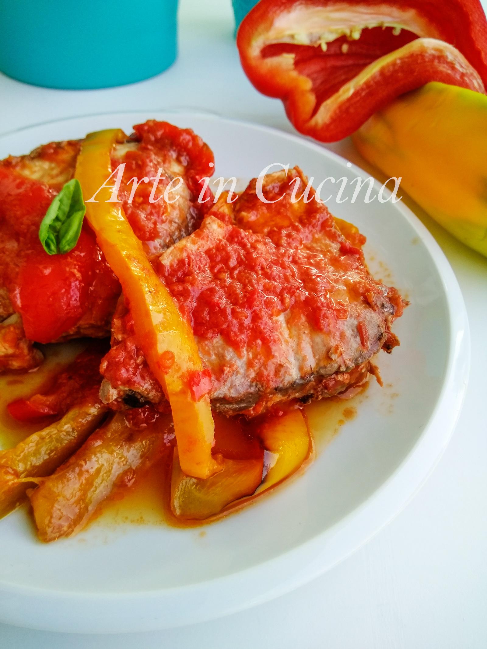 Pesce spada con peperoni ricetta veloce vickyart arte in cucina