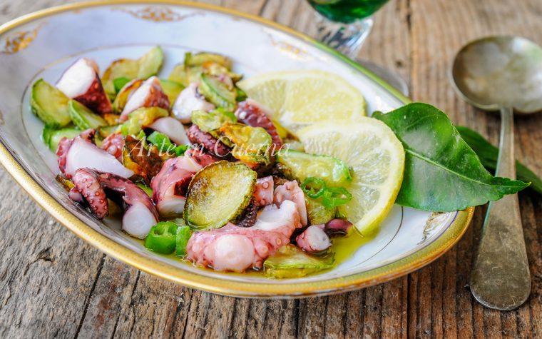 Polpo con zucchine all'insalata ricetta sfiziosa