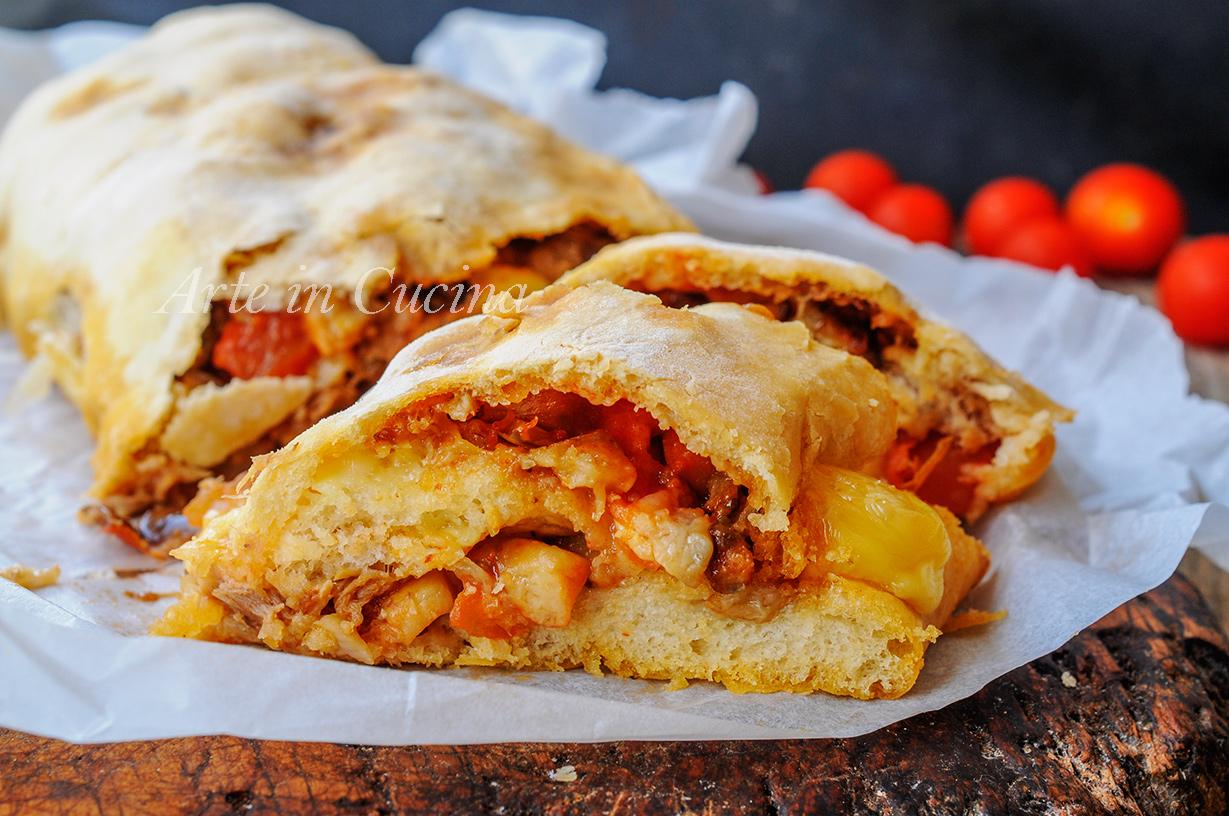Rotolo pizza con tonno e melanzane ricetta facile vickyart arte in cucina