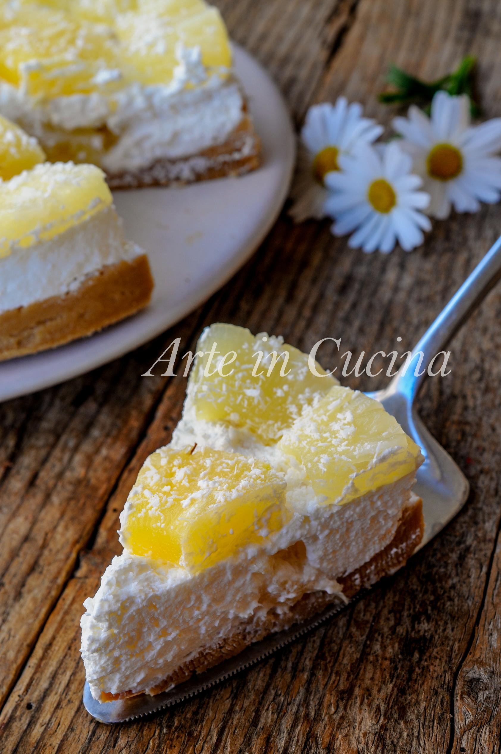 Torta fredda ananas e cocco ricetta facile vickyart arte in cucina
