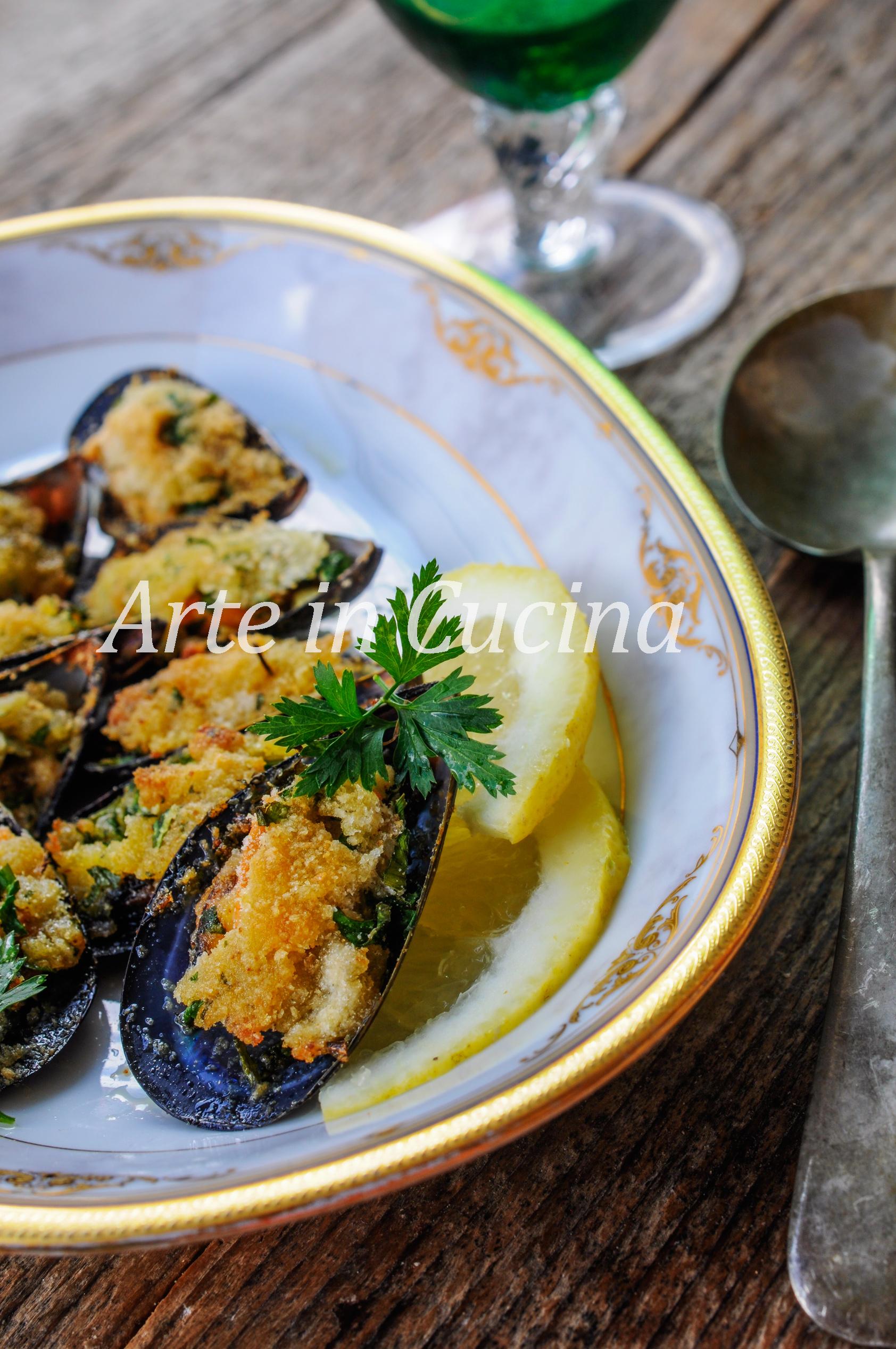 Cozze gratinate alla napoletana ricetta facile vickyart arte in cucina