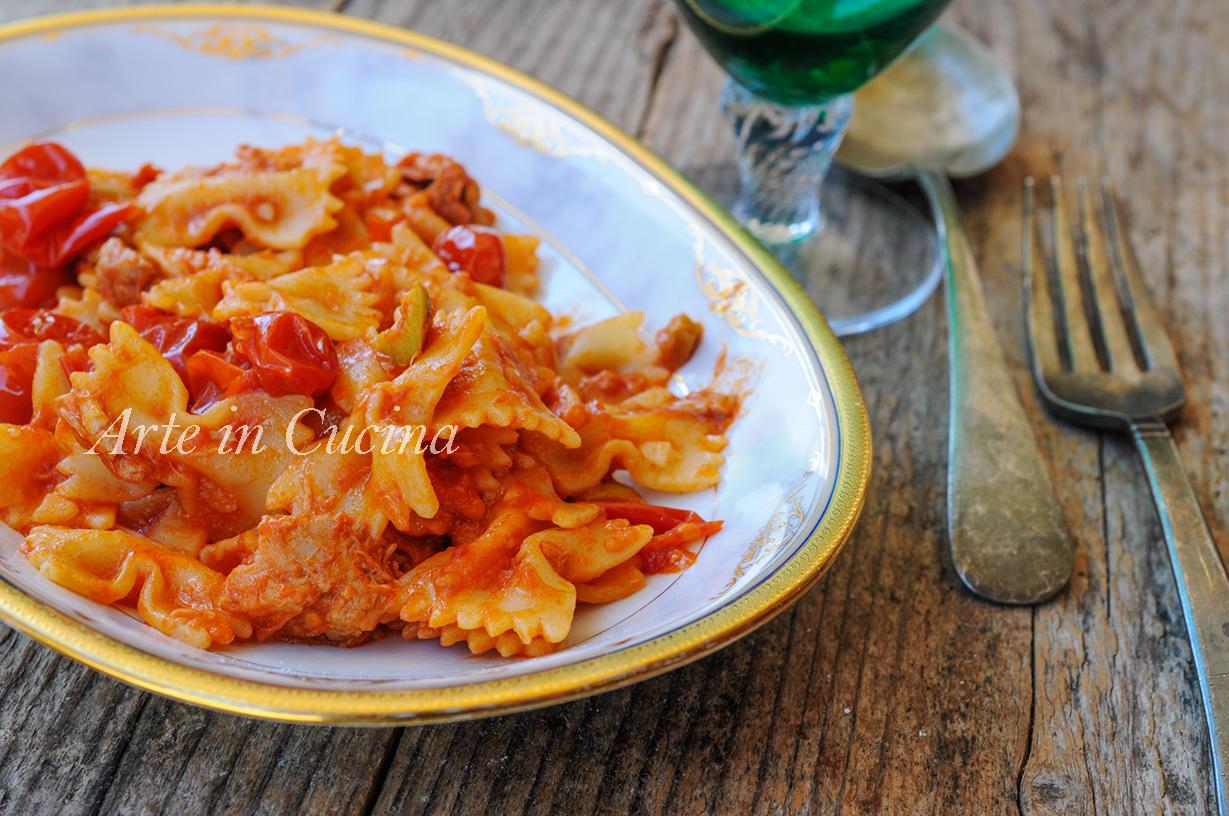 Farfalle al tonno con pomodoro e olive ricetta veloce vickyart arte in cucina