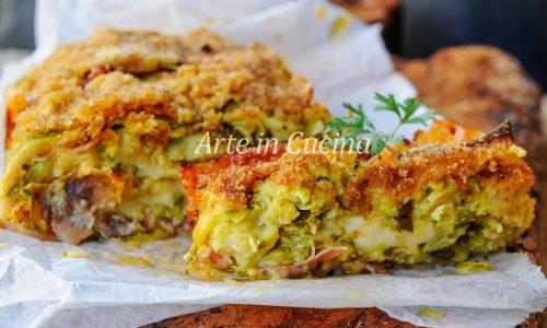 Rotolo di zucchine gratinato con formaggio