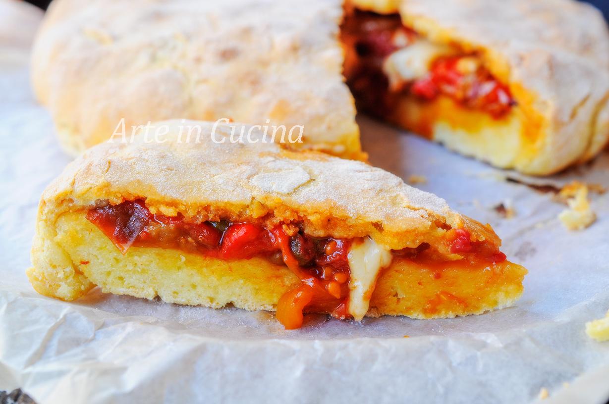 Schiacciata con peperoni e formaggio veloce vickyart arte in cucina