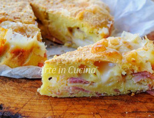 Torta 5 minuti salata gratinata prosciutto e formaggio