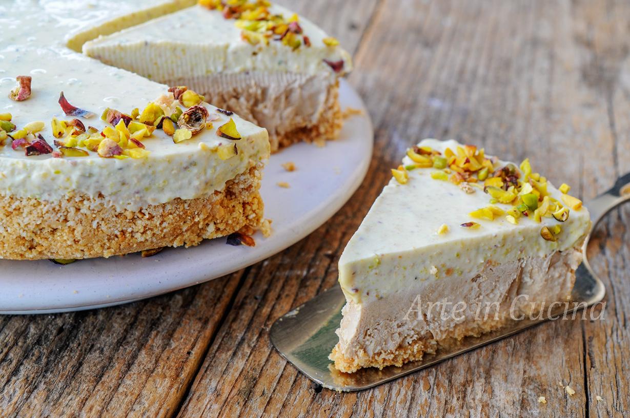 Torta fredda pistacchio e caffè dolce veloce vickyart arte in cucina