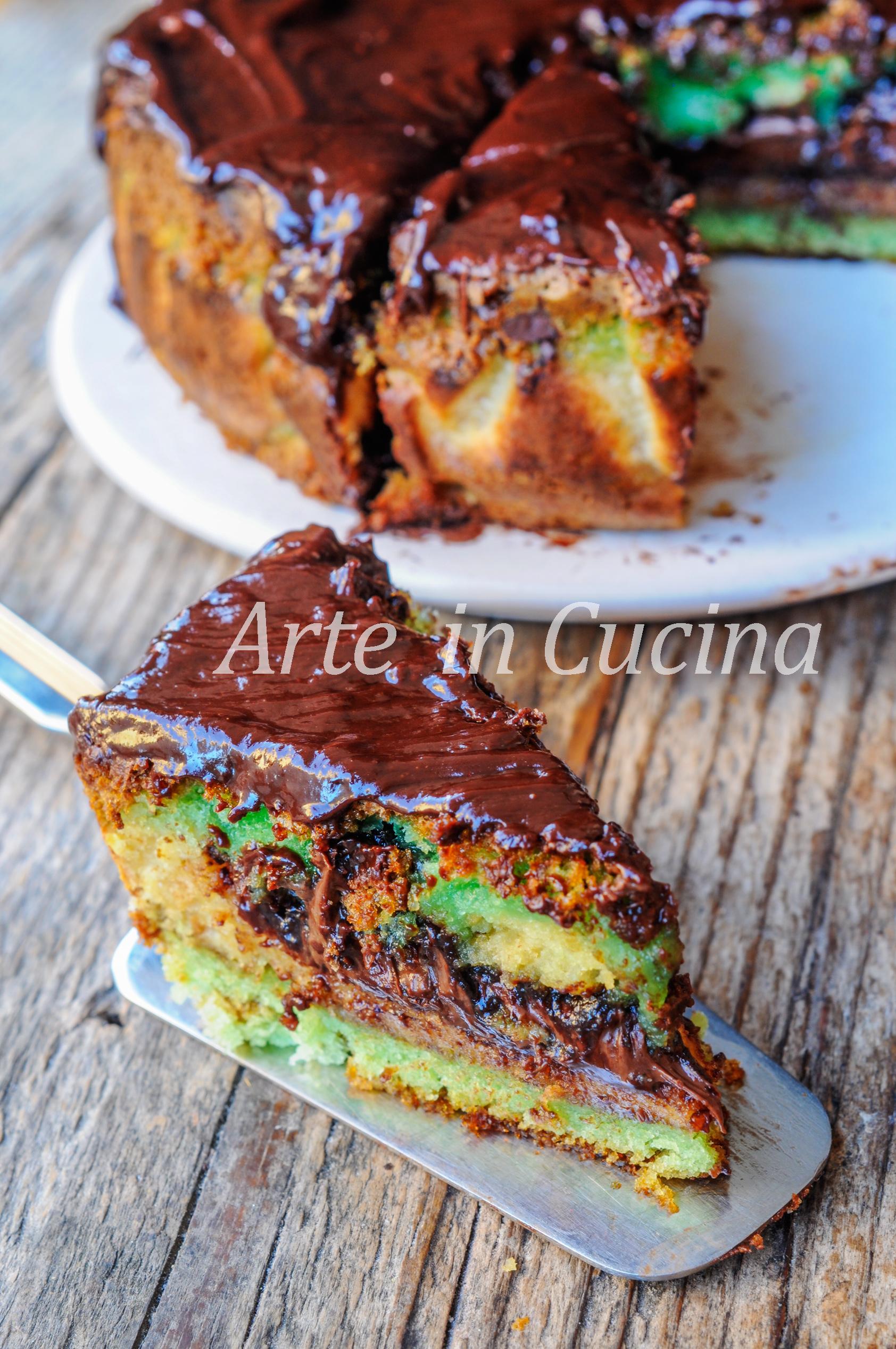 Torta versata alla menta e nutella ricetta veloce vickyart arte in cucina