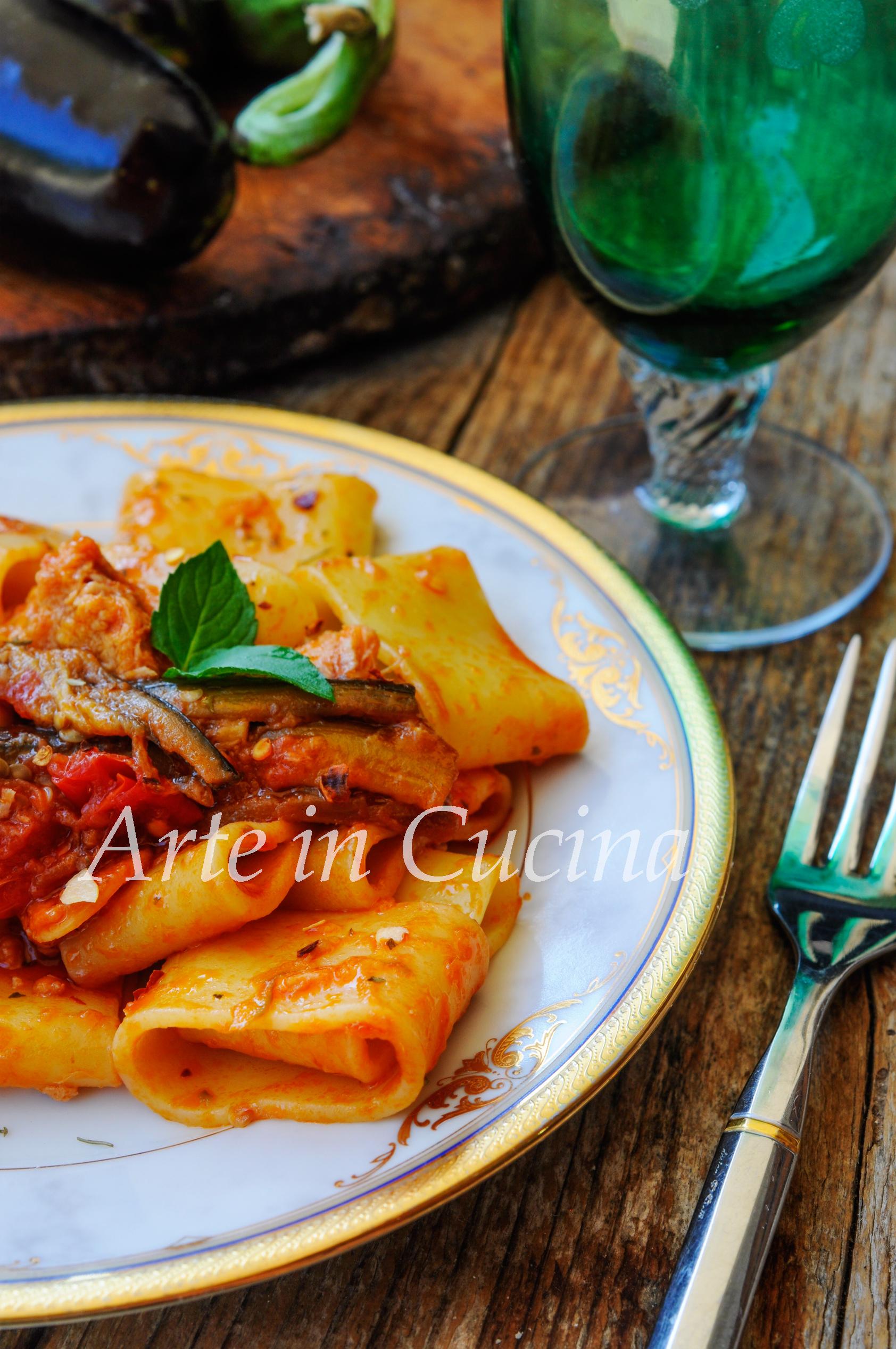 Calamarata con melanzane a filetto ricetta veloce vickyart arte in cucina