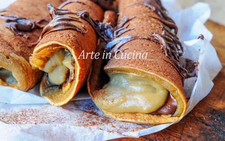 Pancake al caffè cannoli alla crema e nutella