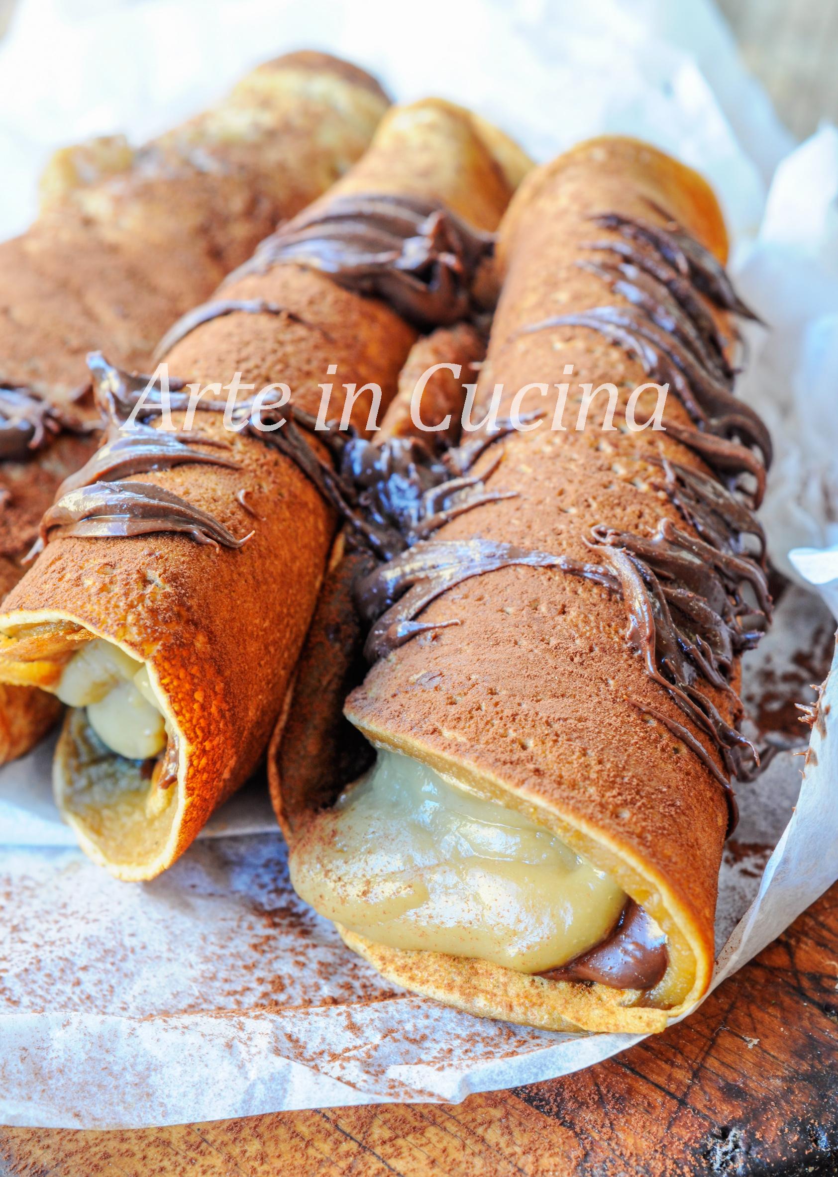 Cannoli di pancake al caffè crema e nutella vickyart arte in cucina