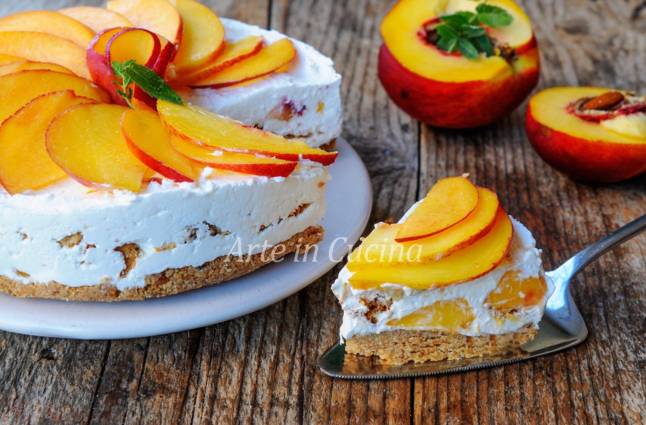 Cheesecake alle pesche e amaretti torta fredda veloce vickyart arte in cucina