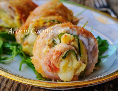 Girelle di pollo e zucchine gratinate in padella