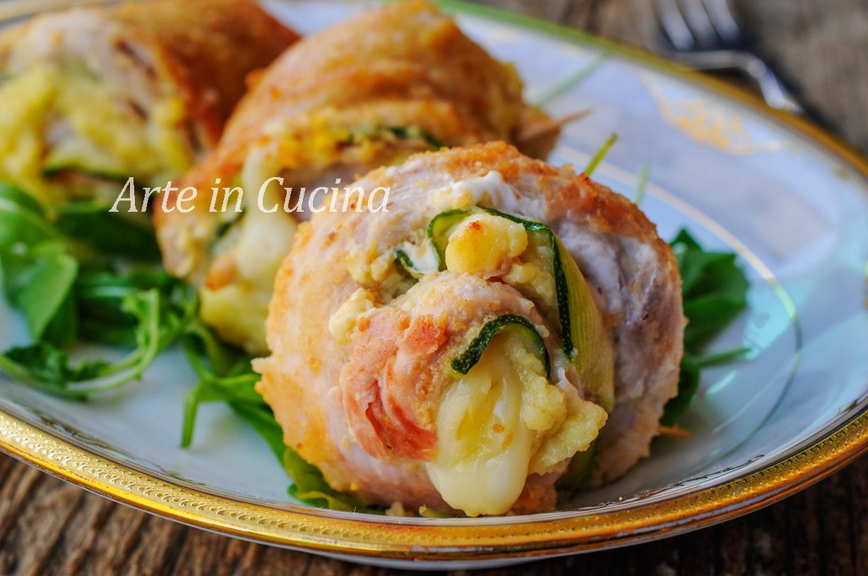 Girelle di pollo e zucchine gratinate in padella vickyart arte in cucina