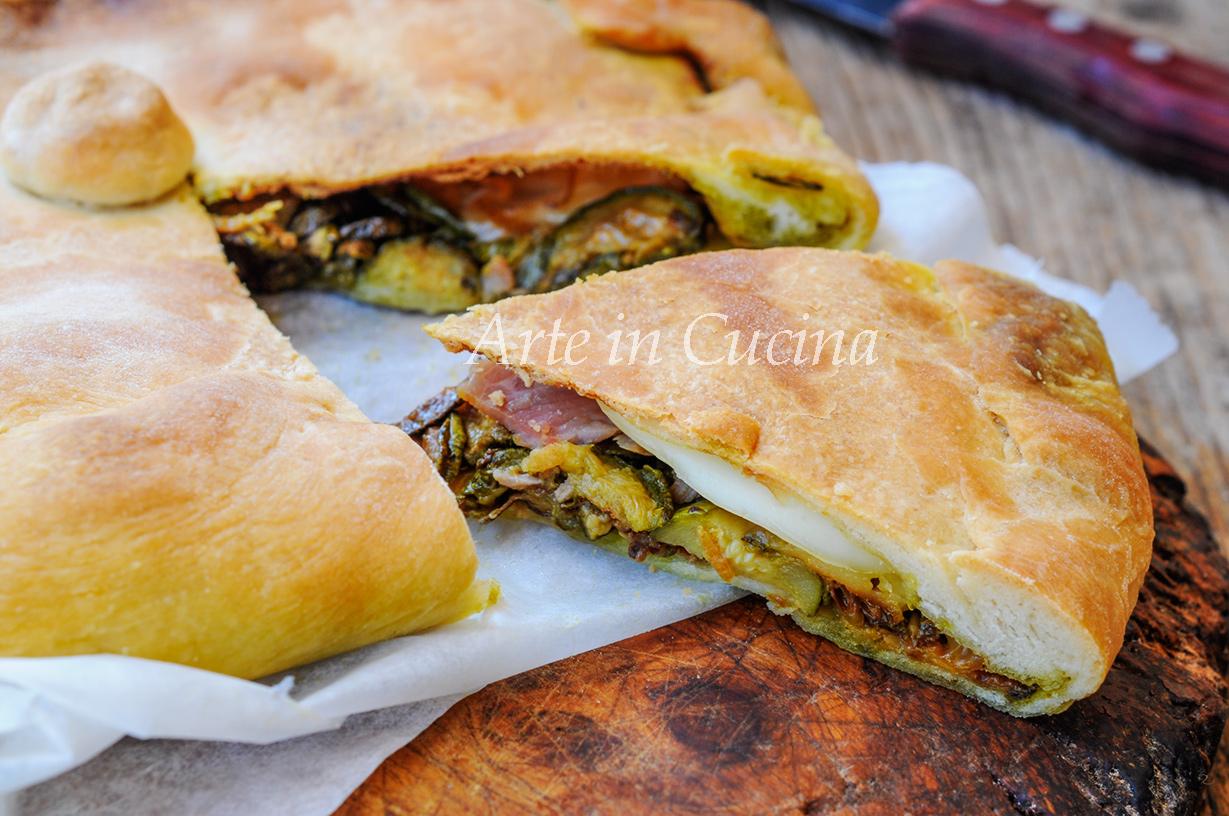 Pizza rustica con zucchine fritte e prosciutto vickyart arte in cucina