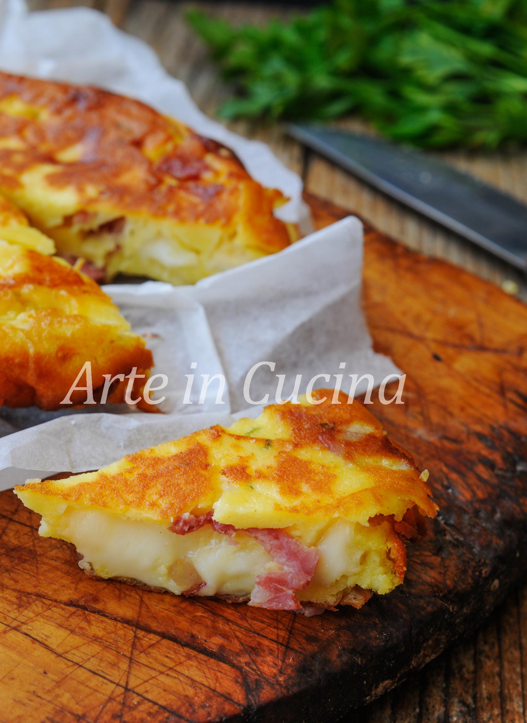 Schiacciata salame e ricotta in padella veloce vickyart arte in cucina